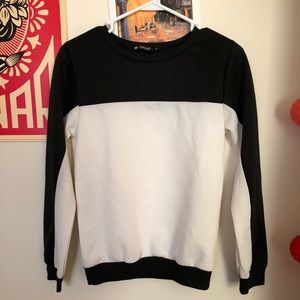 Black and white long sleeve shirt